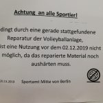 Reparatur Volleyballbodenhülsen Turmstr. 85b November 2019